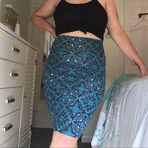Turquoise Geometric Bodycon Skirt